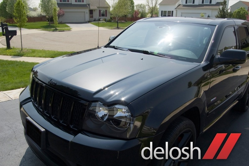 jeep grand cherokee matte black hood graphic and install. Black Bedroom Furniture Sets. Home Design Ideas